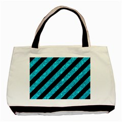 Stripes3 Black Marble & Turquoise Marble Basic Tote Bag (two Sides)