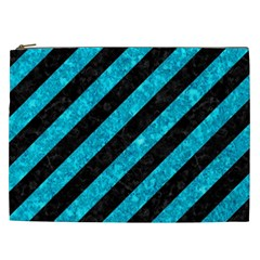Stripes3 Black Marble & Turquoise Marble Cosmetic Bag (xxl)