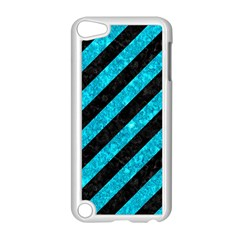 Stripes3 Black Marble & Turquoise Marble Apple Ipod Touch 5 Case (white)