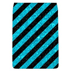 Stripes3 Black Marble & Turquoise Marble Removable Flap Cover (l)