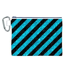 Stripes3 Black Marble & Turquoise Marble Canvas Cosmetic Bag (large)