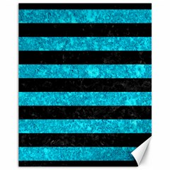 Stripes2 Black Marble & Turquoise Marble Canvas 11  X 14