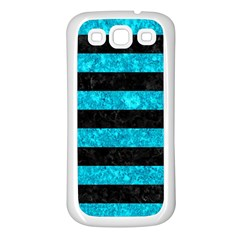 Stripes2 Black Marble & Turquoise Marble Samsung Galaxy S3 Back Case (white)