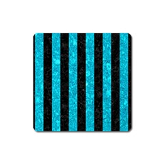 Stripes1 Black Marble & Turquoise Marble Magnet (square)