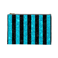 Stripes1 Black Marble & Turquoise Marble Cosmetic Bag (large)