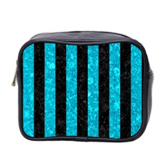Stripes1 Black Marble & Turquoise Marble Mini Toiletries Bag (two Sides)