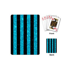 Stripes1 Black Marble & Turquoise Marble Playing Cards (mini)