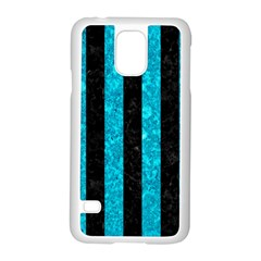 Stripes1 Black Marble & Turquoise Marble Samsung Galaxy S5 Case (white)