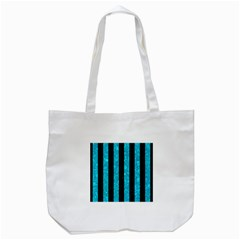 Stripes1 Black Marble & Turquoise Marble Tote Bag (white)