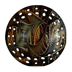 Mosaics Stained Glass Round Filigree Ornament (2side)