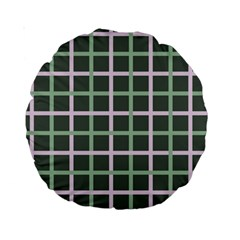Pink And Green Tiles On Dark Green Standard 15  Premium Round Cushions