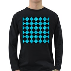 Square2 Black Marble & Turquoise Marble Long Sleeve Dark T Shirt