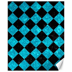 Square2 Black Marble & Turquoise Marble Canvas 11  X 14