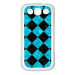 Square2 Black Marble & Turquoise Marble Samsung Galaxy S3 Back Case (white)