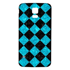 Square2 Black Marble & Turquoise Marble Samsung Galaxy S5 Back Case (white)
