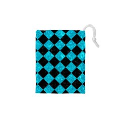 Square2 Black Marble & Turquoise Marble Drawstring Pouch (xs)