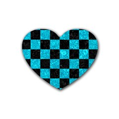 Square1 Black Marble & Turquoise Marble Rubber Coaster (heart)