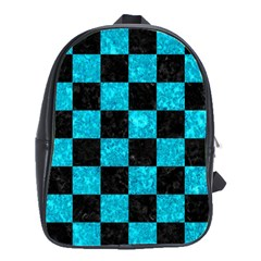 Square1 Black Marble & Turquoise Marble School Bag (large)