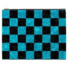 Square1 Black Marble & Turquoise Marble Cosmetic Bag (xxxl)