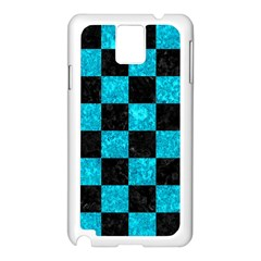 Square1 Black Marble & Turquoise Marble Samsung Galaxy Note 3 N9005 Case (white)