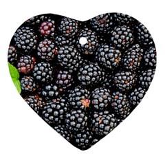Blackberries Background Black Dark Ornament (heart)