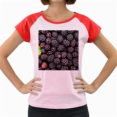 Blackberries Background Black Dark Women s Cap Sleeve T Shirt