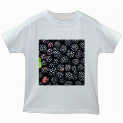 Blackberries Background Black Dark Kids White T Shirts