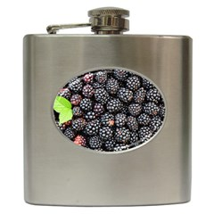 Blackberries Background Black Dark Hip Flask (6 Oz)