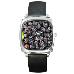 Blackberries Background Black Dark Square Metal Watch