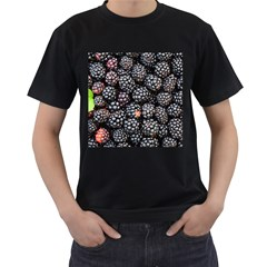 Blackberries Background Black Dark Men s T Shirt (black) (two Sided)
