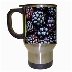 Blackberries Background Black Dark Travel Mugs (White)