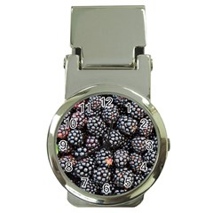 Blackberries Background Black Dark Money Clip Watches