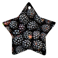 Blackberries Background Black Dark Star Ornament (two Sides)