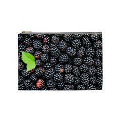 Blackberries Background Black Dark Cosmetic Bag (medium)