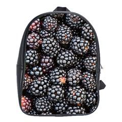 Blackberries Background Black Dark School Bags(Large)