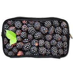 Blackberries Background Black Dark Toiletries Bags