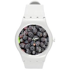 Blackberries Background Black Dark Round Plastic Sport Watch (m)