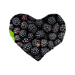 Blackberries Background Black Dark Standard 16  Premium Heart Shape Cushions