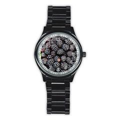 Blackberries Background Black Dark Stainless Steel Round Watch