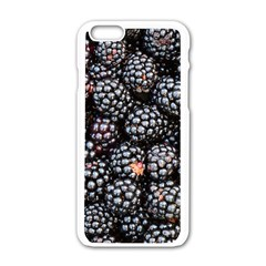 Blackberries Background Black Dark Apple Iphone 6/6s White Enamel Case