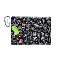 Blackberries Background Black Dark Canvas Cosmetic Bag (m)