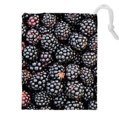 Blackberries Background Black Dark Drawstring Pouches (xxl)