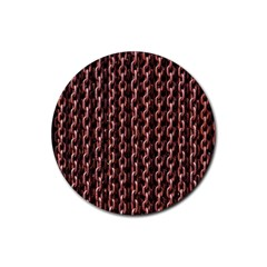 Chain Rusty Links Iron Metal Rust Rubber Coaster (round)