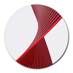 Red Black White Round Mousepads