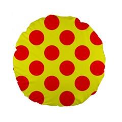 Red Circle Yellow Standard 15  Premium Round Cushions