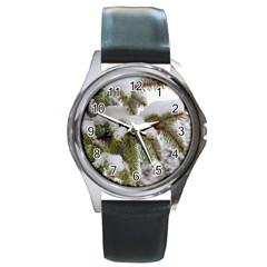 Brad Snow Winter White Green Round Metal Watch