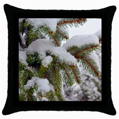Brad Snow Winter White Green Throw Pillow Case (black)