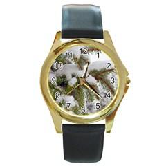 Brad Snow Winter White Green Round Gold Metal Watch