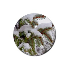 Brad Snow Winter White Green Rubber Round Coaster (4 Pack)