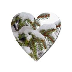 Brad Snow Winter White Green Heart Magnet